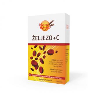 NATURAL WEALTH ŽELJEZO + VITAMIN C 90 TABLETA