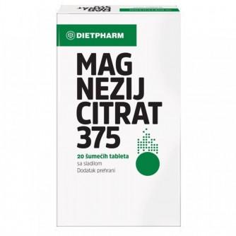 DIETPHARM MAGNEZIJ CITRAT 375MG ŠUMEĆE TABLETE, 20 KOM